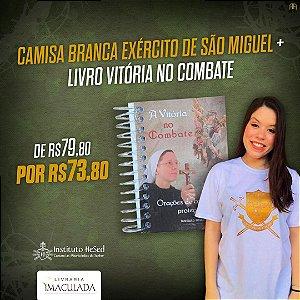 Combo: Camiseta Distintivo Exercito de São Miguel - Branca + Livro Vitória no Combate