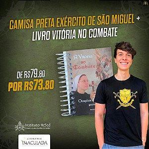 Combo: Camiseta Distintivo Exercito de São Miguel - Preta + Livro Vitória no Combate