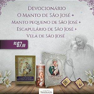 Combo 2  São José - Devocionário + Manto Pequeno + Escapulário + Vela
