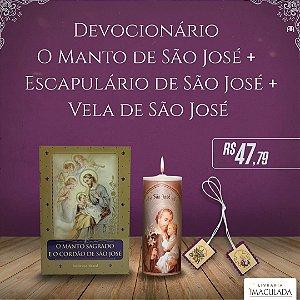 Combo 3  São José - Devocionário + Escapulário + Vela