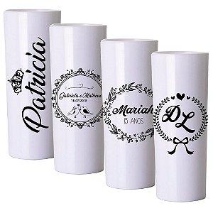 Copo Long Drink Personalizado Branco com impressão Preta - Kit com 100 und.