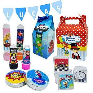 Kit Festa em Casa - 10 Milk + 10 Maletas + 15 Latas + 10 Tubetes + 10 Mini Tubetes + 10 Caixas acrilicas 4x4 + Bandeirola