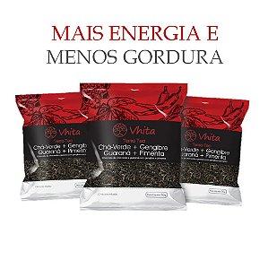 TERMO TEA - Chá 100% natural com Chá Verde + Gengibre + Guaraná + Pimenta.  (3 Sachê de 50g / Consumo para 18 dias / VAL. MAI/2018)