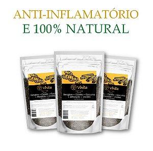 FLON TEA - Chá 100% natural com Gengibre + Canela + Cúrcuma + Alfavacão + Uncária.  (3 Sachês de 50g / Consumo para 18 dias / VAL.: MAR/2019)