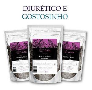 HIBIS TEA - Chá 100% natural com Hibisco + Stevia. (3 Sachês de 50g / Consumo para 18 dias / VAL.: MAR/2019)