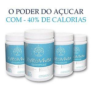 Xylitol Vhita - Adoçante natural com o mesmo poder adoçante do açúcar, com quase metade das calorias e com baixo índice glicêmico. (4x Potes de 300g / VAL. JAn/2019)