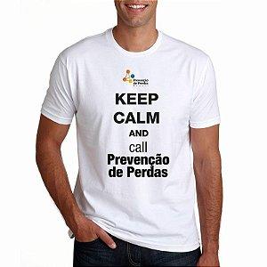 Camiseta Prevenção de Perdas Branca Masculina Keep Calm
