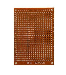 Placa Universal Perfurada Fenolite Circuito Impresso Face Simples 5X7 cm