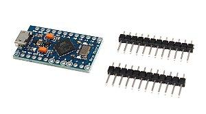 Placa Compatível Arduino Leonardo Pro micro Atmega32u4 16Mhz 5V