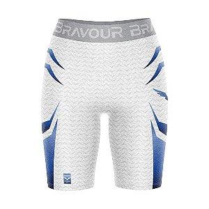 Short de Compressão - Bravour Classic - Branca/Azul