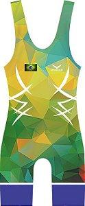 Malha Wrestling - Polygons - Brasil (barra azul ou vermelha)