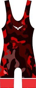 Malha Wrestling - Camouflage - Vermelha/Preta (barra azul ou vermelha)