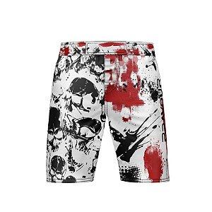 Bermuda NOGI - Street Skull - Branca/Vermelha/Preta