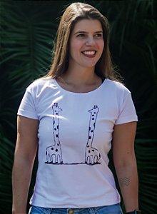 Blusa Baby Look Feminina Girafa - Branca