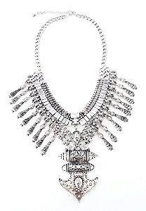 Maxi Colar Sie Haus Feminino  em metal Prata com pedras incolor e pingente ancôra