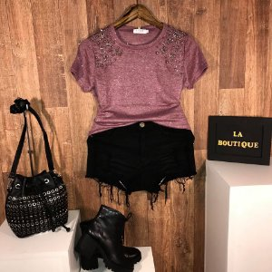 Short Jeans Top Fashion Rasgado Black