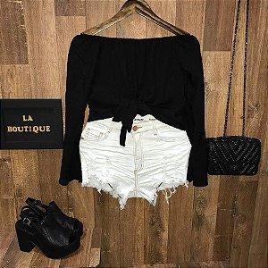 Short Jeans Top Fashion Rasgado Crystal White