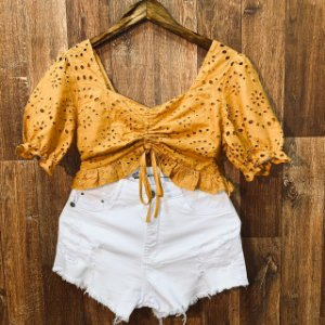 Short Jeans Top Fashion Rasgado White