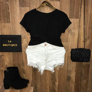 T-shirt Cropped Trançado