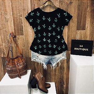 T-shirt Cactus Estampa Dupla
