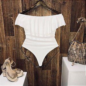 Body Feminino Babado Canelado Branco