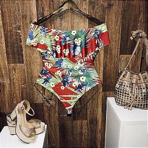 Body Feminino Babado Caribe Floral Vermelho
