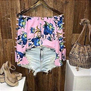 Blusa Ciganinha Vazada Havaí Garden Rosa