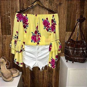 Blusa Ciganinha Duplo Babado Havaí Floral Amarela