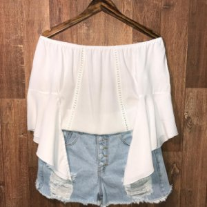 Blusa Ciganinha Manga 3|4 Renda Branco