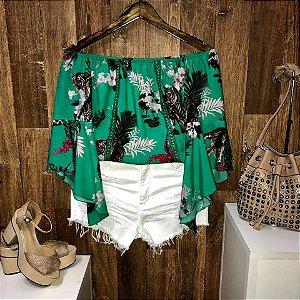 Blusa Ciganinha Manga 3|4 Renda Miami Flores Verde