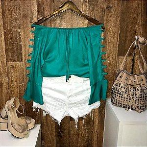 Blusa Ciganinha Manga Vazada Verde