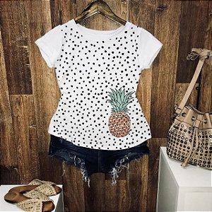 T-shirt Abacaxi com Poá