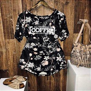 T-shirt Floral Coffee Preto GG