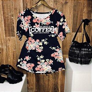 T-shirt Floral Coffee Azul Escuro GG
