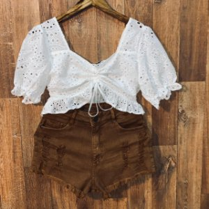 Short Jeans Top Fashion Rasgado Caramelo