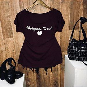 T-shirt Plus Size Obrigada Deus!
