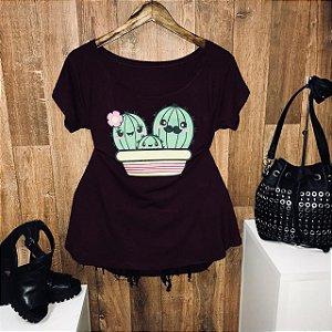 T-shirt Plus Size Doce Família Cactus
