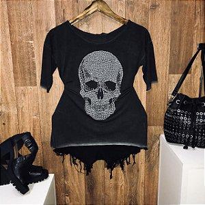 T-shirt Manga Curta Fashion Skull Cinza com Pedraria
