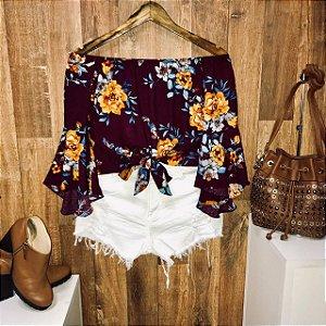 Blusa Ciganinha Amarrar Cropped 3 4 Fall Flower Vinho