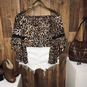 Blusa Ciganinha Duplo Babado Fall Animal Print