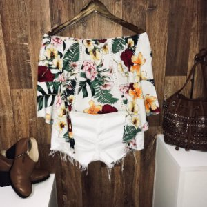 Blusa Ciganinha Manga 3|4 Renda Fall Flower White