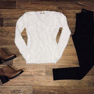 Blusa de Pelinho Gola V Branco