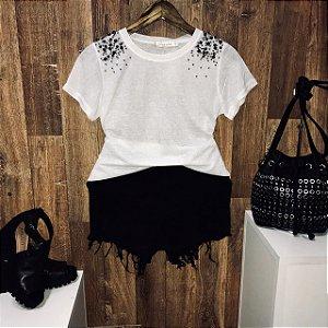 T-shirt Fashion Pedrinhas Branca