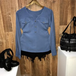 Camisa Botão Falso Fashion Azul