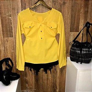 Camisa Botão Falso Fashion Amarela