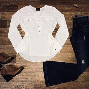 Camisa Botão Falso Fashion Branca