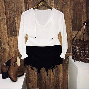Blusa Manga Longa Crepe Fashion Branca