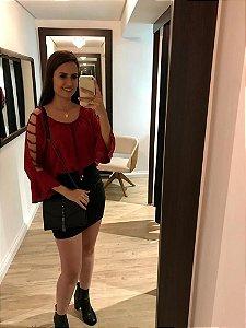 Blusa Ciganinha Manga Vazada Vermelha