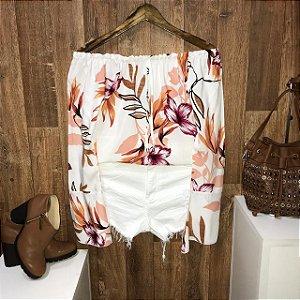 Blusa Ciganinha Manga Longa Flare LB Floral White