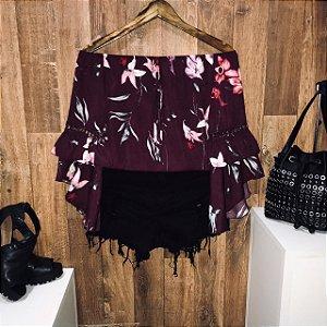 Blusa Ciganinha Duplo Babado Fashion Flores Uva